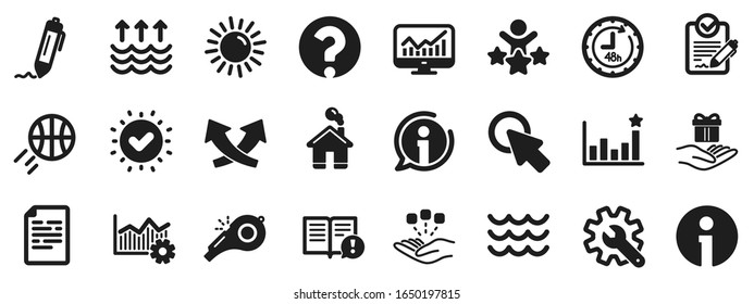 Customisation, Global warming and Question mark signs. Whistle, Waves and Sun icons. Signature Rfp, Information and Efficacy icons. Waves, Consolidation and Operational excellence. Vector