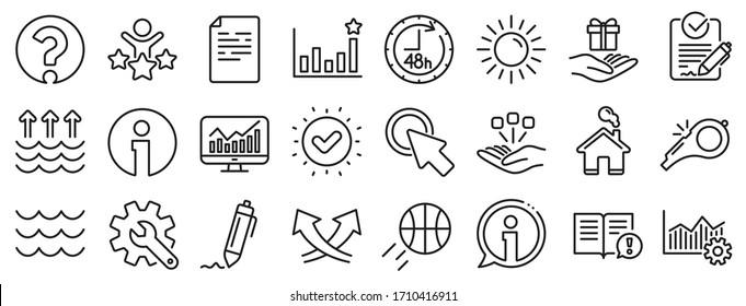 Customisation, Global warming, Question mark icons. Waves, sun, efficacy line icons. Signature Rfp, Information, Efficacy. Waves, Consolidation, Operational excellence. Question mark, whistle. Vector