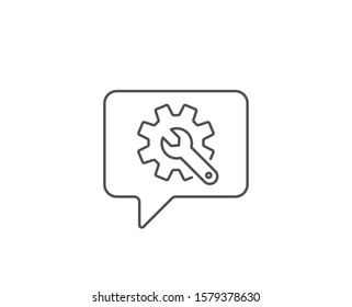 Customisation line icon. Chat bubble design. Settings or editing sign. Repair symbol. Outline concept. Thin line customisation icon. Vector