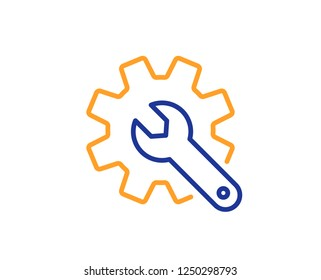 Customisation line icon. Settings or editing sign. Repair symbol. Colorful outline concept. Blue and orange thin line color icon. Customisation Vector