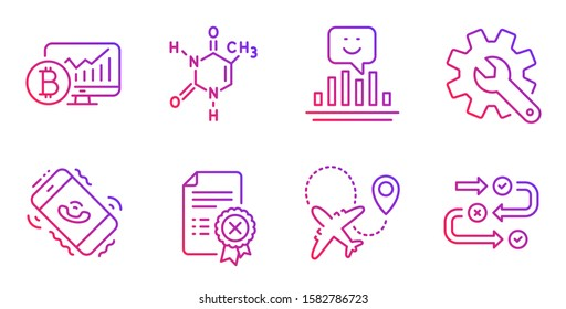 Customisation, Smile and Chemical formula line icons set. Airplane, Call center and Reject certificate signs. Bitcoin chart, Survey progress symbols. Settings, Positive feedback. Vector