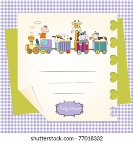 customizable birthday card with animal toys train
