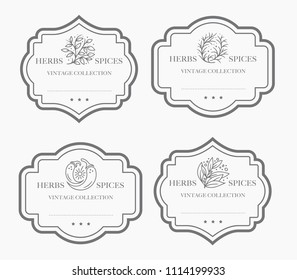 Customizable black and white Pantry label collection. Vintage packaging design templates for Herbs and Spices, dried fruit, vegetables, nuts etc