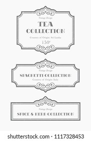 Customizable black and white Pantry label collection. Vintage packaging design templates for Herbs and Spices, dried fruit, vegetables, nuts, tea, coffee etc
