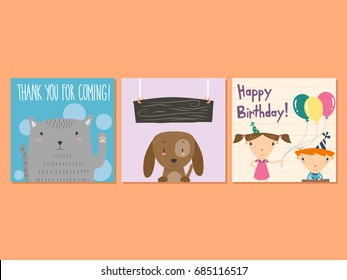 Customizable flat birthday and thank you cards featuring a cute pair of kids, a cat, and a dog.