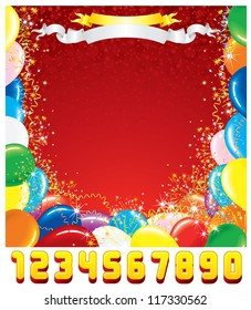 Customizable Greeting Card Template. Festive Birthday Background with Set of Shiny Numbers.