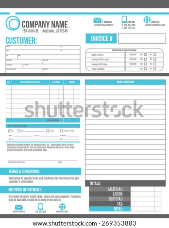 Customizable Invoice Template Design Room Work Stock Vektorgrafik