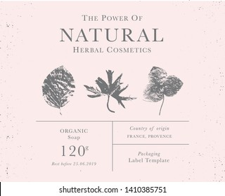 Customizable label of Natural organic herbal products. Vintage packaging design templates for Cosmetics, Pharmacy, healthy food. Dried leaves, real herbarium