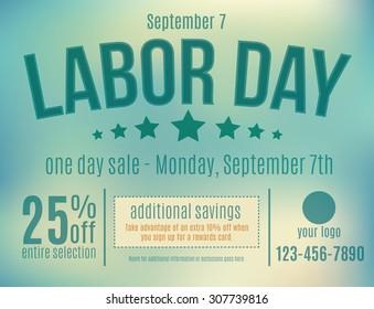 Customizable Labor Day sale postcard advertisement