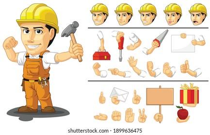 Customizable Mascot Industrial Construction Worker Laborer