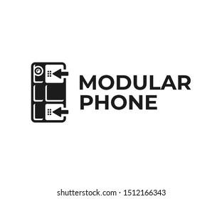 Customizable phone logo design. Modular smartphone vector design. Building blocks for phone logotype