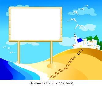 Customizable wooden sign on the beach, vector