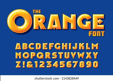 A customized orange vector alphabet with highlights and texture