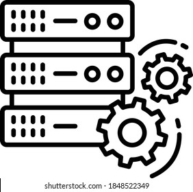 Customized Server Concept, Data Center Machine Configuration Vector Icon Design, Cloud computing and Internet hosting services Symbol on White background
