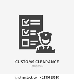 Customs clearance flat glyph icon. Policeman inspecting luggage sign. Solid silhouette logo for cargo trucking, freight services.
