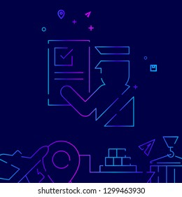 Customs Clearance Vector Line Icon. Customs Officer Gradient Symbol, Pictogram, Sign. Dark Blue Background. Light Abstract Geometric Background. Related Bottom Border