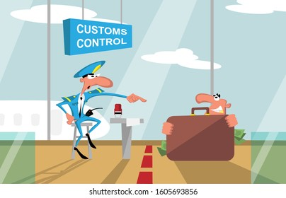 Customs control at the airport and the smuggler