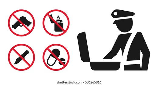 Customs  control area sign and prohibition pictogram