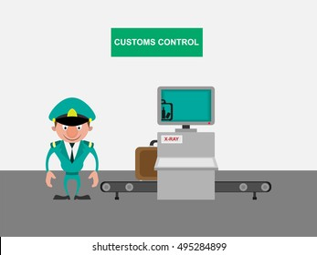 Customs control cartoon character near x-ray