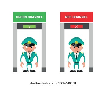 Customs control red and green channels