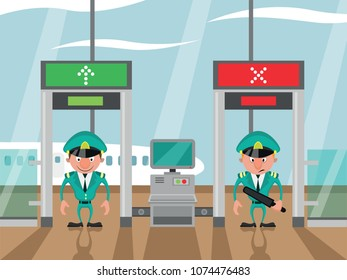 Customs control and security control at the airport
