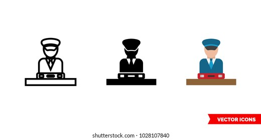 Customs icon of 3 types: color, black and white, outline. Isolated vector sign symbol.