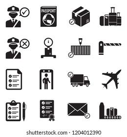 Customs Icons. Black Flat Design. Vector Illustration.