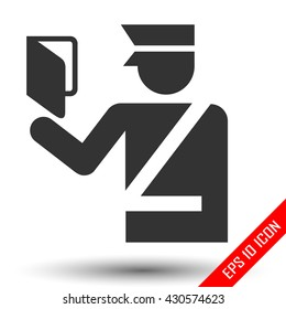 Customs officer Icon. Flat logo of immigration officer isolated on white background. Policeman EPS. Vector illustration.