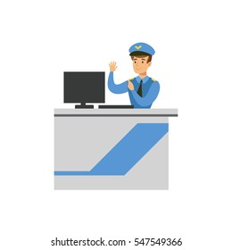 Customs Officer Monitoring Luggage Security Scan, Part Of Airport And Air Travel Related Scenes Series Of Vector Illustrations