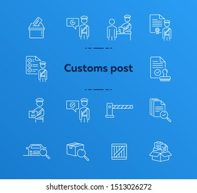 Customs post icons. Set of line icons. Document inspection, customs control, document box. Inspection concept. Vector illustration can be used for topics like immigration, shipment, logistics