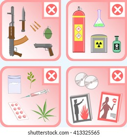 Customs prohibition icon set. Objects prohibited or restricted for import and export (banned list). Some objects are only allowed to be transported with special permission.
