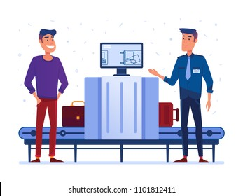 Customs security guard on x-ray checkpoint in the airport. Guard, safety, protection and public security concept. Vector flat design illustration on white background.