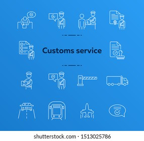Customs service icons. Set of line icons. Check of package, truck, airplane, train. Logistics concept. Vector illustration can be used for topics like shipment, transportation, delivery