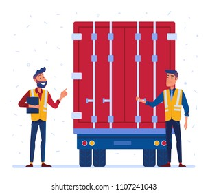 Customs truck loading control. Customs inspector checks the truck loading and accompanying documents. Concept of border inspection. Vector flat design illustration on white background