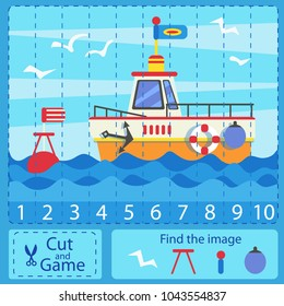 Cut and activity game. Numbers pazzl with sea ship. Find the difference image. Children funny entertainment and amusement. Learn to count numbers funny cartoon riddle. Vector illustration.