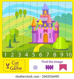Cut and activity game. Numbers pazzl with fairytale castle. Find the difference image. Children funny entertainment and amusement. Learn to count numbers funny cartoon riddle. Vector illustration.