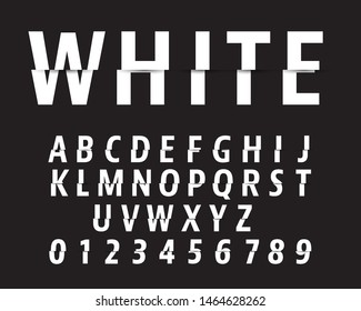 Cut alphabet font template. Letters and numbers cutting design. Vector illustration.