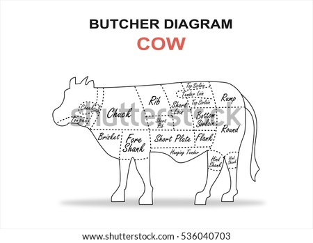 cut beef set poster butcher 450w 536040703 cut beef set poster butcher diagram stock vector (royalty free