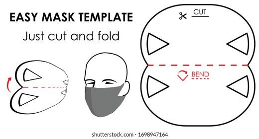 Modèle de masque de protection CUT AND BEND. Masque fait maison. FAIS-MOI ! Modèle pour faire un masque. Auto-fabrication
