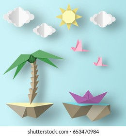 Cut Birds, Ship, Palm Tree, Clouds and Sun Style Paper Origami Crafted Word. Cutout Made Elements and Symbols for Banner, Card, Poster. Abstract Template. Vector Illustrations Art Design.