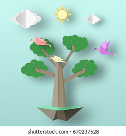Cut Birds, Tree, Clouds, Sun for Paper Origami Concept, Applique Scene. Childish Cutout Template with Elements, Symbols. Toy Landscape for Card, Poster. Vector Illustrations Art Design.