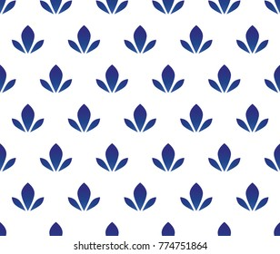 cut ceramic pattern design vector, blue and white water lily floral seamless background