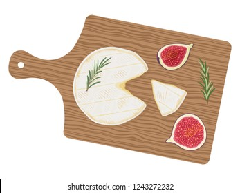 Cut cylinder of fresh creamy camembert de Normandie cheese with aromatic rosemary herbs and sweet figs on a wooden cutting board, top view. Traditional french dairy product. Vector  illustration.