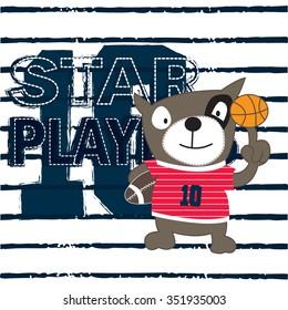 cut dog cartoon, American football and basketball players, T-shirt design for boys vector illustration