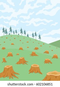 Cut down trees. Clear cutting forest. Devastation of forest landscape. Vector illustration