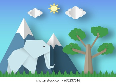Cut Elephants, Tree, Clouds, Sun for Paper Origami Concept, Applique Scene. Childish Cutout Template with Elements, Symbols. Toy Landscape for Card, Poster. Vector Illustrations Art Design.