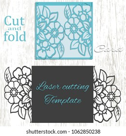 Cut and fold card template. Suitable for die cutting or embossing. Stencil for invitation