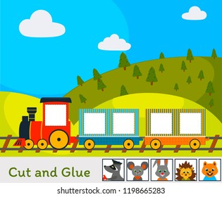 Cut and Glue Game: Train wint Animals