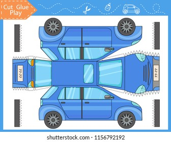 Cut and glue the paper blue car. Worksheet with funny education riddle. Kids crafts activity page. Children art game. Create toys yourself. Birthday decor. Vector illustration.