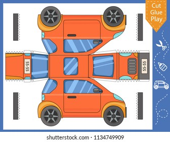 Cut and glue the paper car. Kids crafts activity page. Worksheet with funny education riddle. Children art game. Create toys yourself. Birthday decor. Vector illustration.